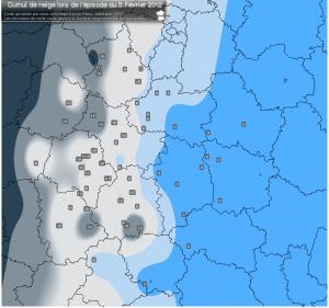 Carte des cumuls de neige lors de l'épisode du 05 Février 2012 dans les régions Centre et Centrales