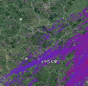 Carte des impacts de foudre du 28 juin 2014