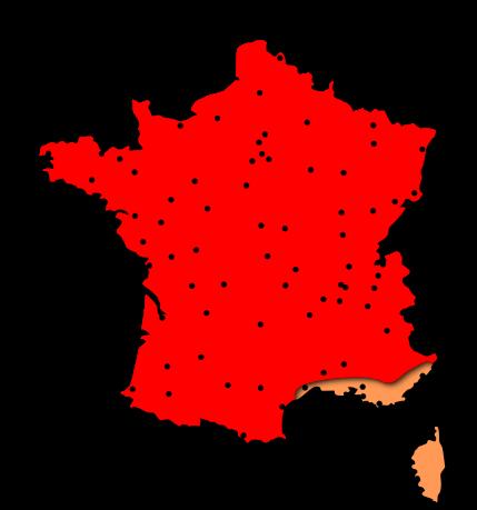 Cartes des risques allergiques liés au pollen de graminées dans les régions Centre et Centrales - France