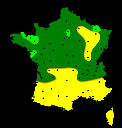 Cartes des risques allergiques liés au pollen de chêne dans les régions Centre et Centrales - France
