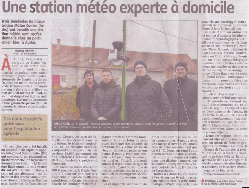 Article La Montagne - Installation de la station météo d'Audes (03)