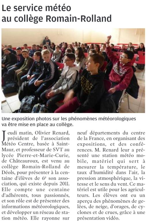Intervention auprès des élèves du collège de Déols (36)