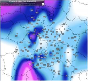 Carte des cumuls de pluie dans les régions Centre et Centrales entre le 6 et 7 Juin 2012