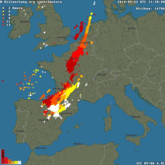 Impacts de foudre en France entre le 21 et le 22 mai