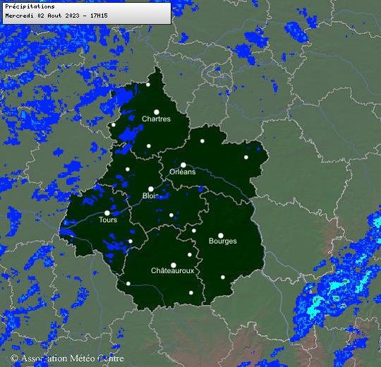 Radar des pluies et des précipitations en cours dans les régions Centre - Val de Loire et Centrales
